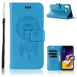Intricate Embossing Owl Campanula Leather Wallet Case for Asus Zenfone Max (M1) ZB555KL - Blue