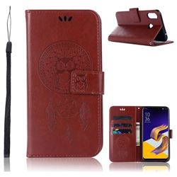 Intricate Embossing Owl Campanula Leather Wallet Case for Asus Zenfone Max (M1) ZB555KL - Brown