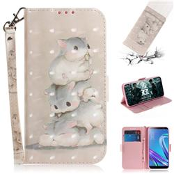 Three Squirrels 3D Painted Leather Wallet Phone Case for Asus Zenfone Max (M1) ZB555KL