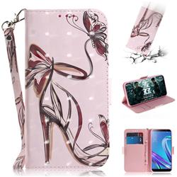 Butterfly High Heels 3D Painted Leather Wallet Phone Case for Asus Zenfone Max (M1) ZB555KL