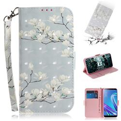 Magnolia Flower 3D Painted Leather Wallet Phone Case for Asus Zenfone Max (M1) ZB555KL