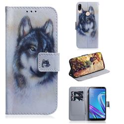 Snow Wolf PU Leather Wallet Case for Asus Zenfone Max (M1) ZB555KL