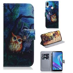 Oil Painting Owl PU Leather Wallet Case for Asus Zenfone Max (M1) ZB555KL