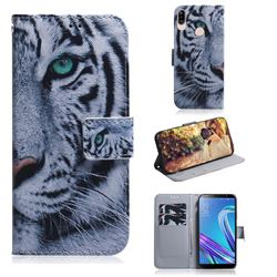 White Tiger PU Leather Wallet Case for Asus Zenfone Max (M1) ZB555KL