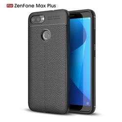 Luxury Auto Focus Litchi Texture Silicone TPU Back Cover for Asus Zenfone Max Plus (M1) ZB570TL - Black