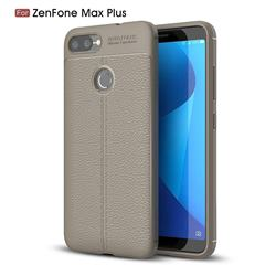 Luxury Auto Focus Litchi Texture Silicone TPU Back Cover for Asus Zenfone Max Plus (M1) ZB570TL - Gray