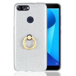 Luxury Soft TPU Glitter Back Ring Cover with 360 Rotate Finger Holder Buckle for Asus Zenfone Max Plus (M1) ZB570TL - White