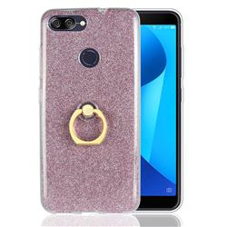 Luxury Soft TPU Glitter Back Ring Cover with 360 Rotate Finger Holder Buckle for Asus Zenfone Max Plus (M1) ZB570TL - Pink