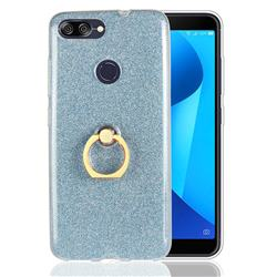 Luxury Soft TPU Glitter Back Ring Cover with 360 Rotate Finger Holder Buckle for Asus Zenfone Max Plus (M1) ZB570TL - Blue