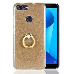 Luxury Soft TPU Glitter Back Ring Cover with 360 Rotate Finger Holder Buckle for Asus Zenfone Max Plus (M1) ZB570TL - Golden
