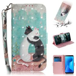 Black and White Cat 3D Painted Leather Wallet Phone Case for Asus Zenfone Max Plus (M1) ZB570TL