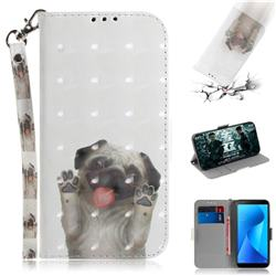 Pug Dog 3D Painted Leather Wallet Phone Case for Asus Zenfone Max Plus (M1) ZB570TL