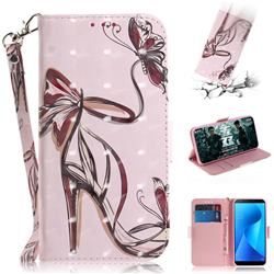 Butterfly High Heels 3D Painted Leather Wallet Phone Case for Asus Zenfone Max Plus (M1) ZB570TL