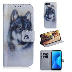 Snow Wolf PU Leather Wallet Case for Asus Zenfone Max Plus (M1) ZB570TL
