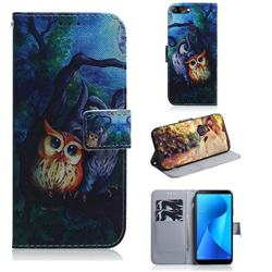 Oil Painting Owl PU Leather Wallet Case for Asus Zenfone Max Plus (M1) ZB570TL