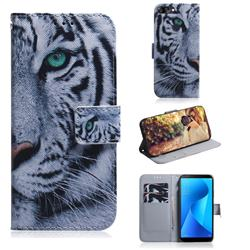 White Tiger PU Leather Wallet Case for Asus Zenfone Max Plus (M1) ZB570TL