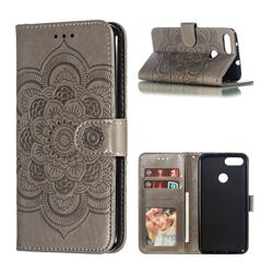 Intricate Embossing Datura Solar Leather Wallet Case for Asus Zenfone Max Plus (M1) ZB570TL - Gray