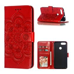 Intricate Embossing Datura Solar Leather Wallet Case for Asus Zenfone Max Plus (M1) ZB570TL - Red
