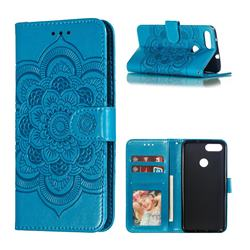 Intricate Embossing Datura Solar Leather Wallet Case for Asus Zenfone Max Plus (M1) ZB570TL - Blue