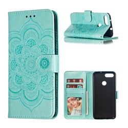 Intricate Embossing Datura Solar Leather Wallet Case for Asus Zenfone Max Plus (M1) ZB570TL - Green