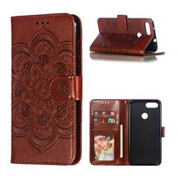 Intricate Embossing Datura Solar Leather Wallet Case for Asus Zenfone Max Plus (M1) ZB570TL - Brown