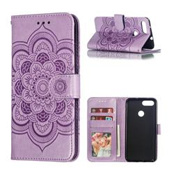 Intricate Embossing Datura Solar Leather Wallet Case for Asus Zenfone Max Plus (M1) ZB570TL - Purple
