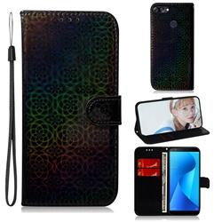 Laser Circle Shining Leather Wallet Phone Case for Asus Zenfone Max Plus (M1) ZB570TL - Black