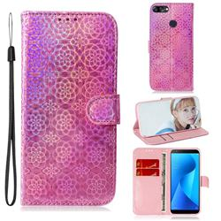 Laser Circle Shining Leather Wallet Phone Case for Asus Zenfone Max Plus (M1) ZB570TL - Pink