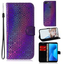 Laser Circle Shining Leather Wallet Phone Case for Asus Zenfone Max Plus (M1) ZB570TL - Purple