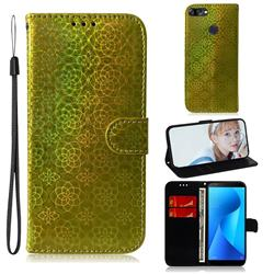 Laser Circle Shining Leather Wallet Phone Case for Asus Zenfone Max Plus (M1) ZB570TL - Golden