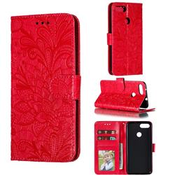 Intricate Embossing Lace Jasmine Flower Leather Wallet Case for Asus Zenfone Max Plus (M1) ZB570TL - Red