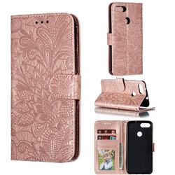 Intricate Embossing Lace Jasmine Flower Leather Wallet Case for Asus Zenfone Max Plus (M1) ZB570TL - Rose Gold
