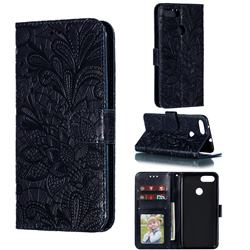 Intricate Embossing Lace Jasmine Flower Leather Wallet Case for Asus Zenfone Max Plus (M1) ZB570TL - Dark Blue