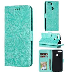 Intricate Embossing Lace Jasmine Flower Leather Wallet Case for Asus Zenfone Max Plus (M1) ZB570TL - Green