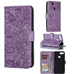 Intricate Embossing Lace Jasmine Flower Leather Wallet Case for Asus Zenfone Max Plus (M1) ZB570TL - Purple