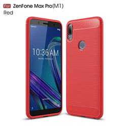 Luxury Carbon Fiber Brushed Wire Drawing Silicone TPU Back Cover for Asus Zenfone Max Pro (M1) ZB601KL - Red