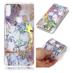 Gold Plating Marble Pattern Bright Color Laser Soft TPU Case for Asus Zenfone Max Pro (M1) ZB601KL