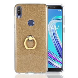 Luxury Soft TPU Glitter Back Ring Cover with 360 Rotate Finger Holder Buckle for Asus Zenfone Max Pro (M1) ZB601KL - Golden
