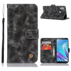 Luxury Retro Leather Wallet Case for Asus Zenfone Max Pro (M1) ZB601KL - Gray