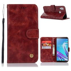Luxury Retro Leather Wallet Case for Asus Zenfone Max Pro (M1) ZB601KL - Wine Red