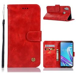 Luxury Retro Leather Wallet Case for Asus Zenfone Max Pro (M1) ZB601KL - Red