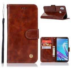 Luxury Retro Leather Wallet Case for Asus Zenfone Max Pro (M1) ZB601KL - Brown