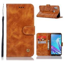Luxury Retro Leather Wallet Case for Asus Zenfone Max Pro (M1) ZB601KL - Golden