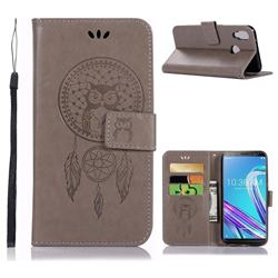 Intricate Embossing Owl Campanula Leather Wallet Case for Asus Zenfone Max Pro (M1) ZB601KL - Grey