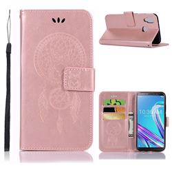 Intricate Embossing Owl Campanula Leather Wallet Case for Asus Zenfone Max Pro (M1) ZB601KL - Rose Gold
