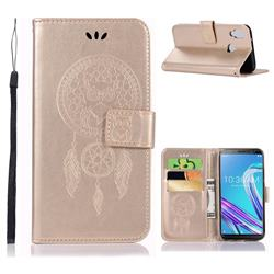 Intricate Embossing Owl Campanula Leather Wallet Case for Asus Zenfone Max Pro (M1) ZB601KL - Champagne
