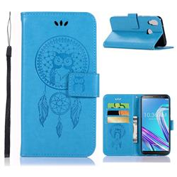 Intricate Embossing Owl Campanula Leather Wallet Case for Asus Zenfone Max Pro (M1) ZB601KL - Blue