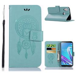 Intricate Embossing Owl Campanula Leather Wallet Case for Asus Zenfone Max Pro (M1) ZB601KL - Green