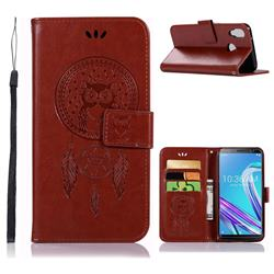 Intricate Embossing Owl Campanula Leather Wallet Case for Asus Zenfone Max Pro (M1) ZB601KL - Brown