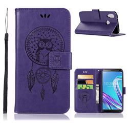 Intricate Embossing Owl Campanula Leather Wallet Case for Asus Zenfone Max Pro (M1) ZB601KL - Purple